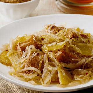 Chicken Sausage with Potatoes & Sauerkraut.