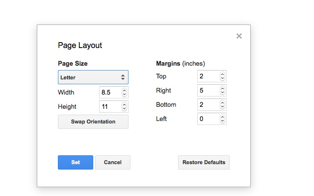 page layout tool google docs add on