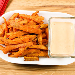 Sweet Potato Fries with Sriracha Cilantro Aioli.