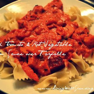 Roasted Tomato & Root Vegetable Cream Sauce over Farfalle.