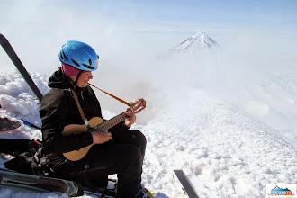 Photo: Playing on guitar on the summit of Avachinsky - Marta