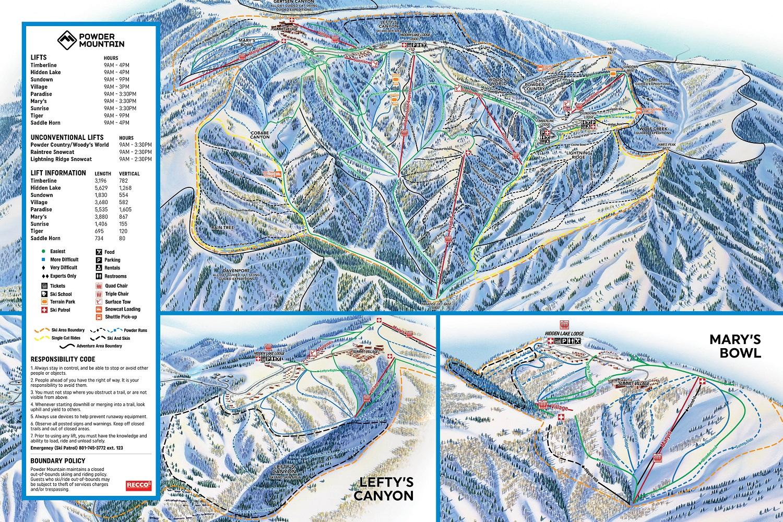 Mapa de la estación de esquí Powder Mountain