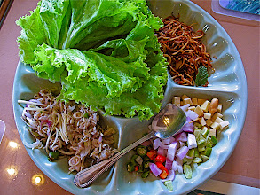 Photo: leaf-wrapped hot & sour mackeral salad with ginger, lime, chillies and toasted coconut (miang bplah too)