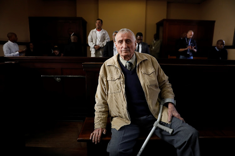 Joao Rodrigues, the apartheid policeman implicated in the murder of slain activist Ahmed Timol, is seen in the dock before proceedings at the Johannesburg Magistrate's Court, July 30 2018. Picture: ALON SKUY