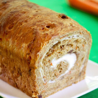 Vegan Carrot Cake Bread with Dairy-Free Cream Cheese Swirl