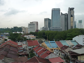 Photo: KL (Kuala Lumpur) - view to southwest from rooftop terrace from good accommodation Oasis GH just one minute south from CN market, on the left side monorail