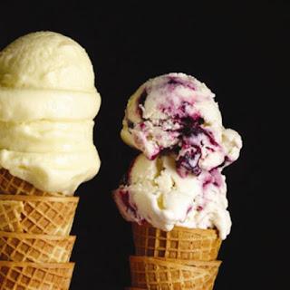 Blueberry-swirl Frozen Yogurt.