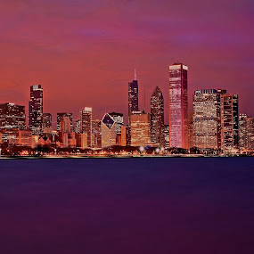 Pink Chicago by Fraya Replinger - City,  Street & Park  Skylines ( water, illinois, skyscrapers, night, chicago, city, breast cancer awareness, pink, lighting, lights, mood factory, hot pink, mood, scents, color, mood-lites, sassy, brighten our world )