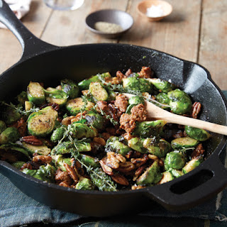 Roasted Brussels Sprouts with Pecans & Sausage