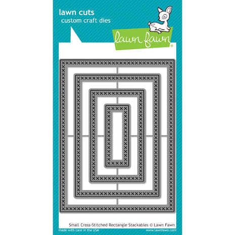 Lawn Fawn Custom Craft Die - Small Cross Stitched Rectangle Stackables
