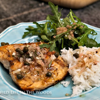 Grilled Trout with Browned Butter, Caper, and Pine Nut Vinaigrette.