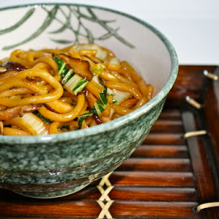 Stir Fried Udon Noodles with Shiitake Mushrooms and Bok Choy
