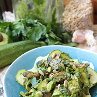 Arugula and Sunflower Seed Pesto with Mushrooms and Zoodles