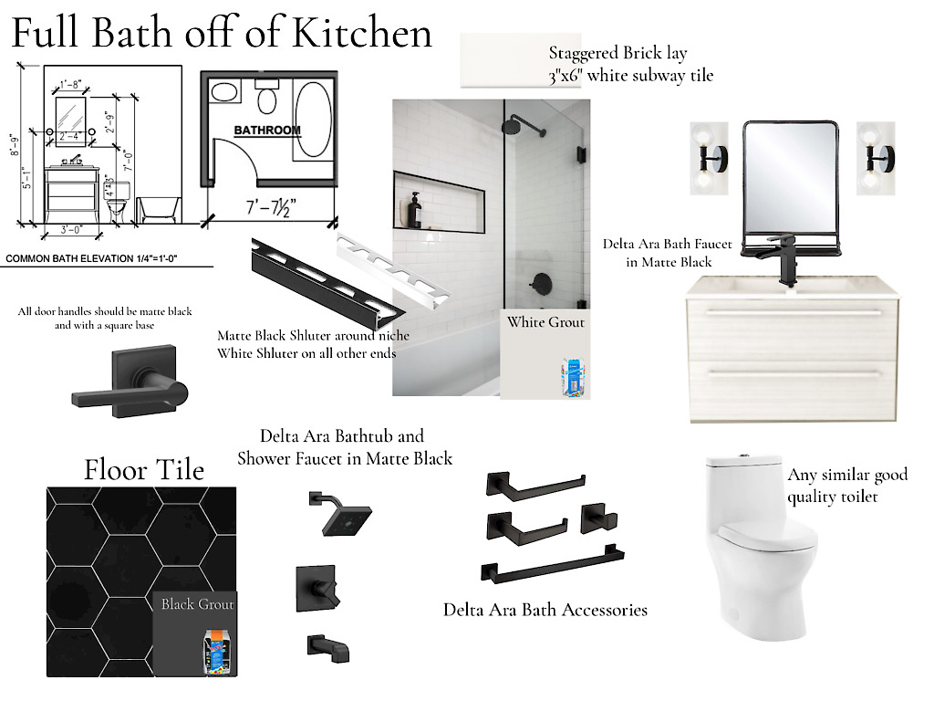 full bath and kitchen