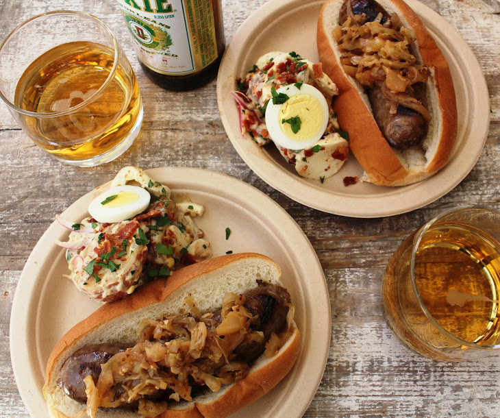 Bratwurst Cooked in Beer with Smothered Cabbage Recipe