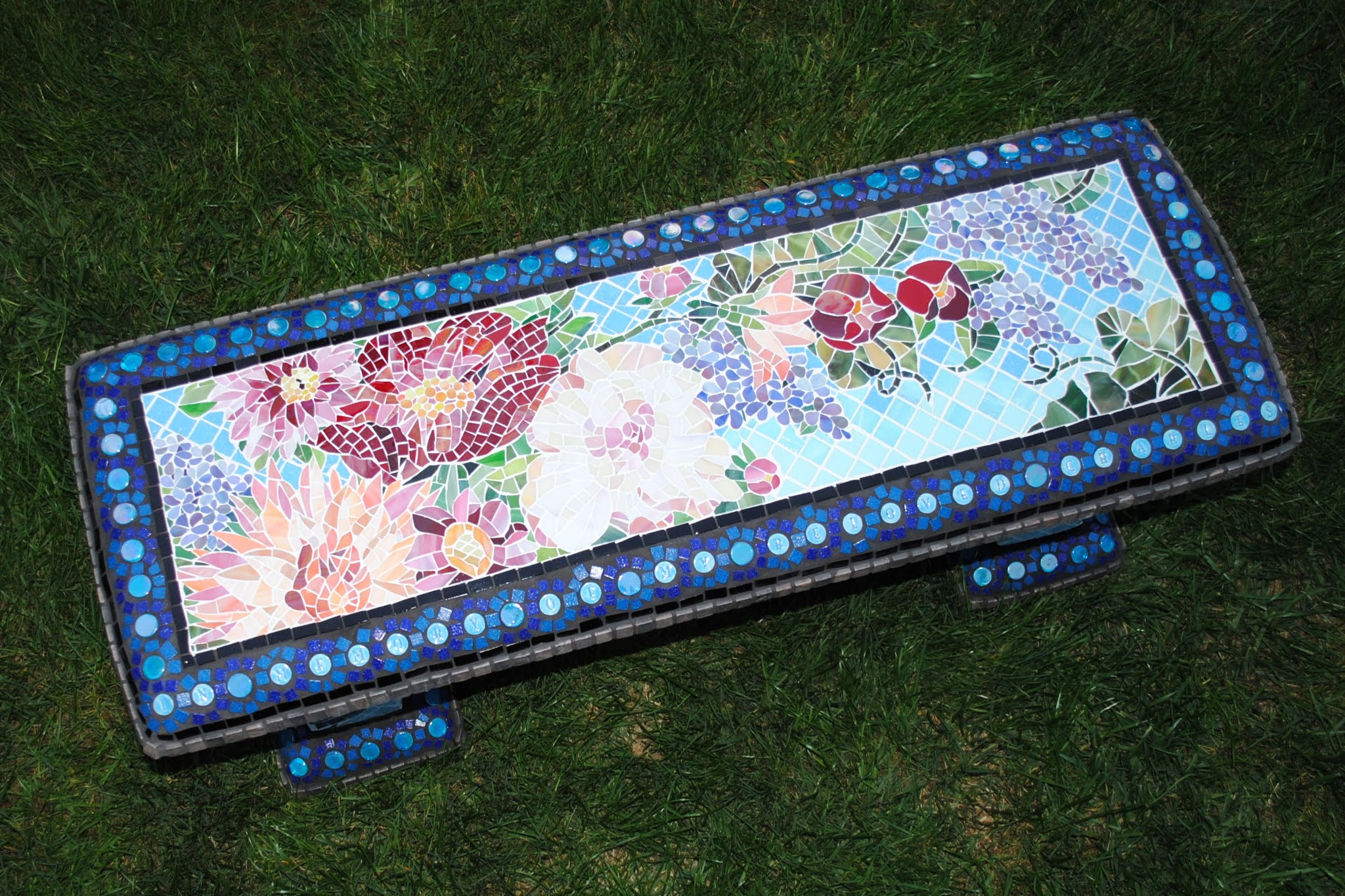 Mosaic Garden Bench -- Dahlias & Peonies