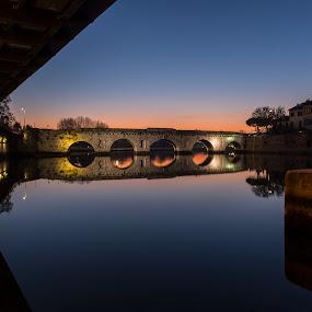 Ponte di Tiberio Augusto by Andrea Magnani - Buildings & Architecture Bridges & Suspended Structures ( reflections, sunset, bridge, long exposure, andrea magnani fotografia )
