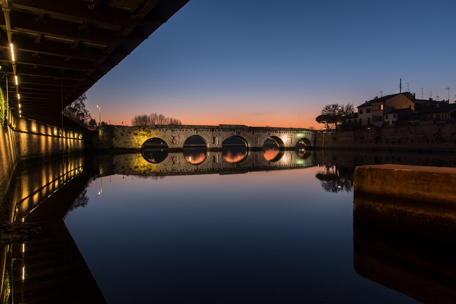 Ponte di Tiberio Augusto by Andrea Magnani - Buildings & Architecture Bridges & Suspended Structures ( reflections, sunset, bridge, long exposure, andrea magnani fotografia )