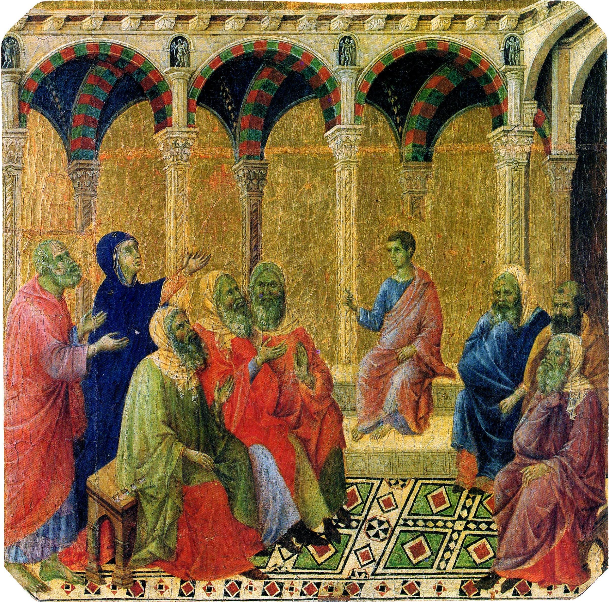 Duccio di Buoninsegna, Predella della Maestà, Disputa di Gesù fanciullo con i dottori