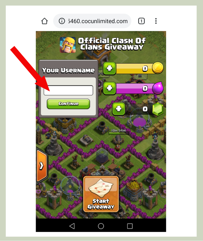 clash of clans gems generator tool step 1