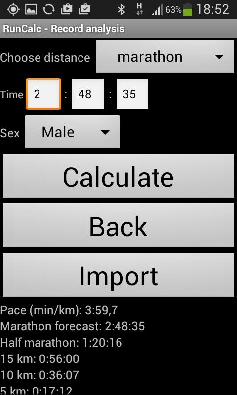 RunCalc - Running Calculator- screenshot