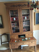 Photo: Code 3940. Exceptional, Cotton reel legged, Oak secretaire with full bookcase on top and individual fittout to the drawer interiors. Height for knees is 603cm, 763cm high x 1980cm wide x 745cm deep. circa 1860. Price $3995