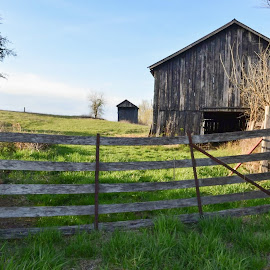 On the farm. by Jim Dawson - Novices Only Landscapes ( barn. fence. gate. winter. entrance. )
