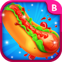 Cooking hot dog for sausage party icon