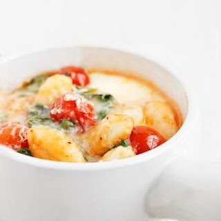 Baked Gnocchi with Cherry Tomatoes and Bocconcini.