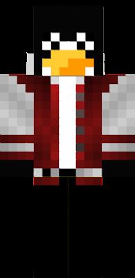 ma czerwono białom kurtke ma żułty dziub