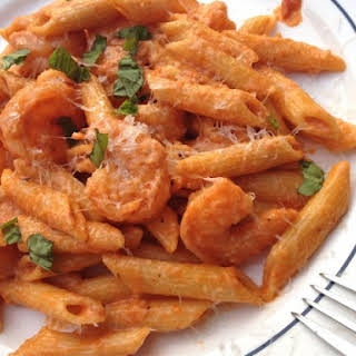 Shrimp and Penne Pasta with Creamy Marinara Sauce.