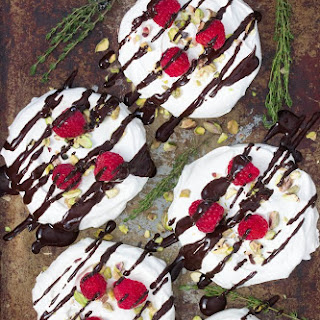 Lemon Thyme Meringues with Raspberries, Pistachios and Chocolate Recipe