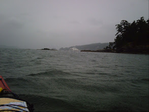 Photo: Paddling north up Swanson Channel with North Pender Island on the right.