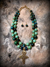 Photo: # 200 SECRET OF THE DEEP BLUE SEA ~ ТАЄМНИЦЯ МОРСЬКИХ ГЛИБИН  - brass Coptic cross, chrysocolla, turquoise, Australian jasper, gold plate   $130/set