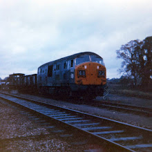 Photo: The guards van is picked up for the run back to Oxford on the last goods train from Charlbury (Oct 1970)