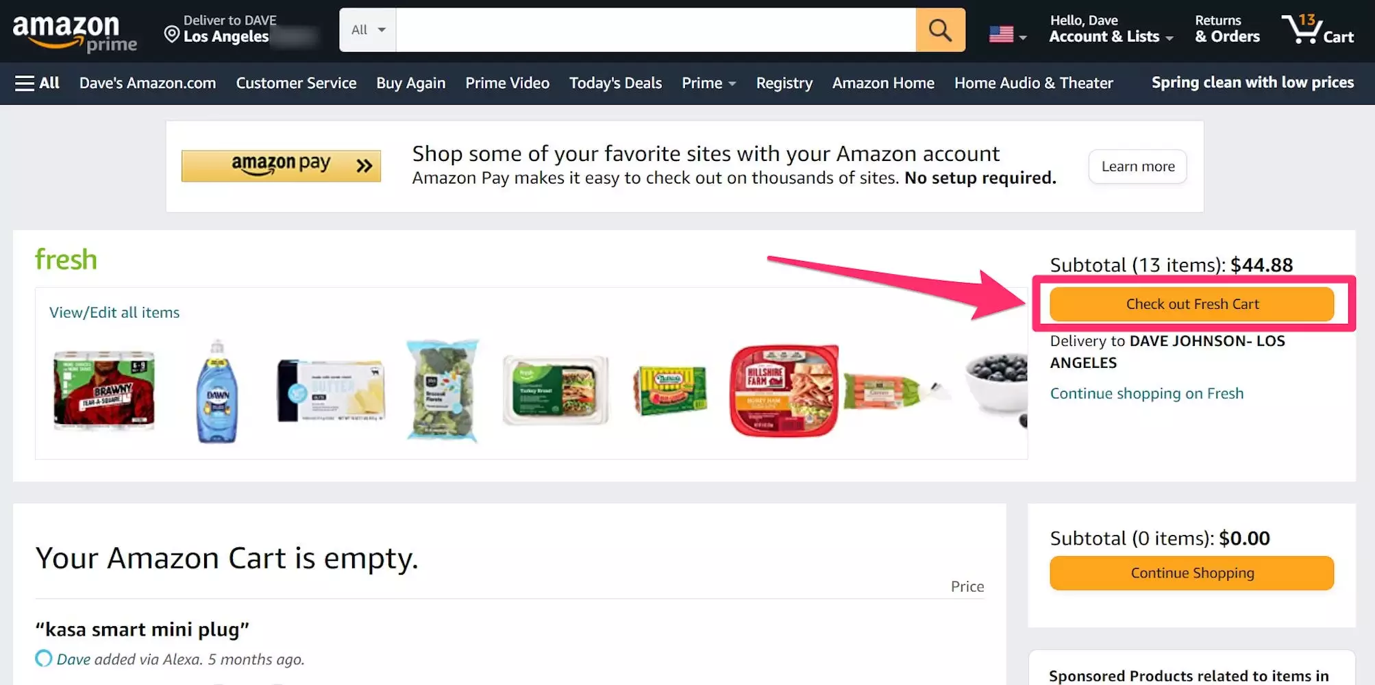 """Step 2: Head to your cart, by clicking the cart symbol, and selecting """"Check out Fresh Cart."""""""