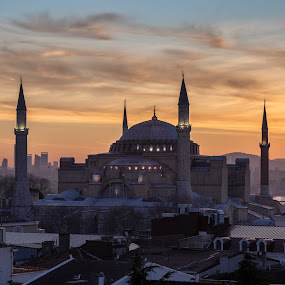 Hagia Sophia and the early bird by Torsten Funke - City,  Street & Park  Skylines ( sunrise, mosque, city, istanbul, hagia sofia, cityscapes, photo, view, sunrises, museum, turkey, cityscape, mosques, photography )