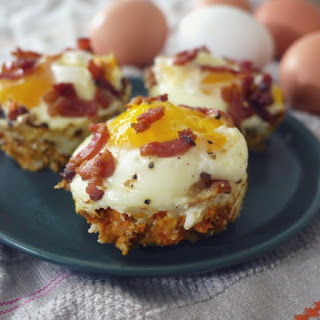 EGGS AND BACON IN SWEET POTATO CUPS.