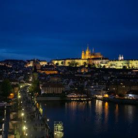 Prague At Dusk by VAM Photography - City,  Street & Park  Vistas ( places, historic district, prague, landscape, architecture )