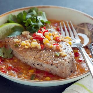 Seared Tuna Steaks with Coconut, Corn and Cilantro