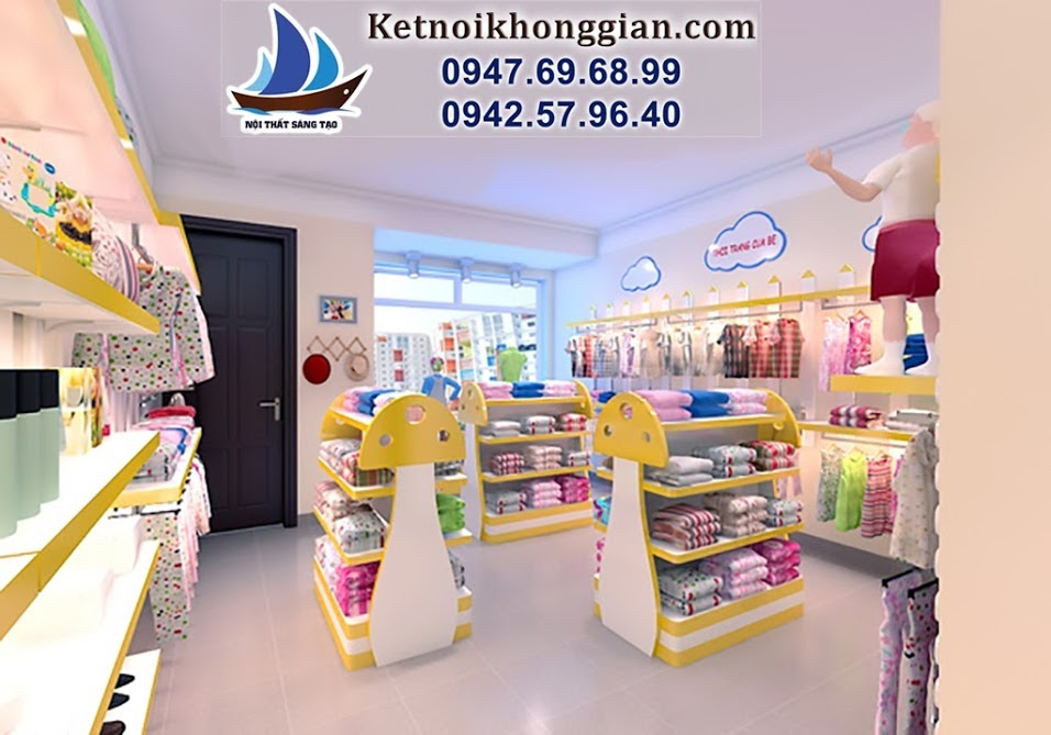 thiết kế shop thời trang trẻ em đẹp hiện đại phong cách