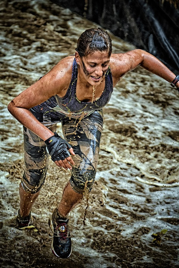 Strong & Determined ! by Marco Bertamé - Sports & Fitness Other Sports ( water, splatter, splash, differdange, 2015, soup, running, luxembourg, muddy, strong, woman, determined, lady, brown, strongmanrun )