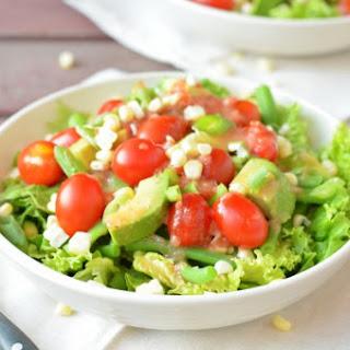 Summer CSA Salad with Red Wine Tomato Vinaigrette