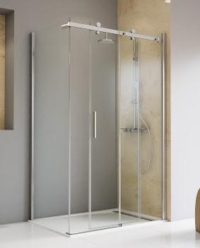 Gleittür / Schiebetür 2-tlg. mit Seitenwand, 1200x800x2000 mm, Chromoptik, Sicherheitsglas Klar hell beschichtet