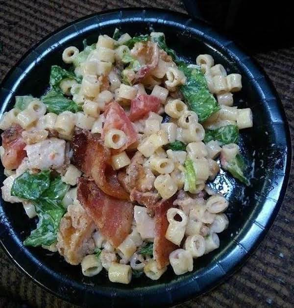 Delicious, Crunchy And Creamy Chicken Club Pasta Salad!!  A Light Summery Dish.