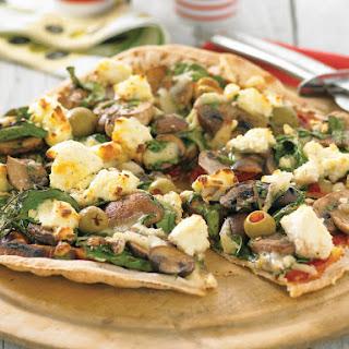 Mushroom and Olive Flatbread Pizza.
