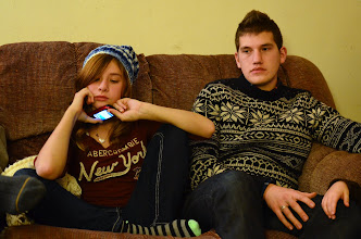Photo: This is how we look during present opening at Christmas.