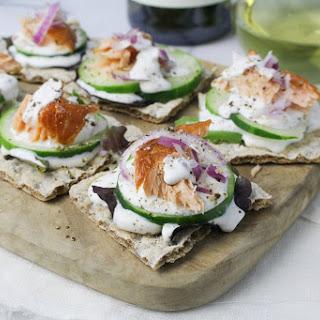 Smoked Salmon Rye Crackers with Caper Cream.