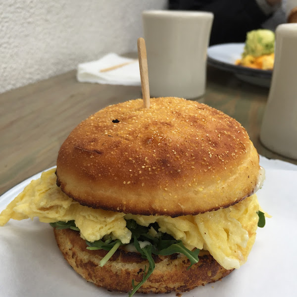 Gluten free English muffin egg sandwich. Very tasty.