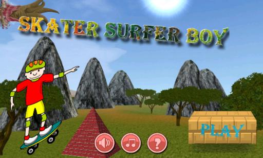 滑板冲浪男孩